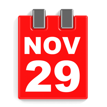 ninth: November 29. Calendar on white background. 3D illustration. Stock Photo