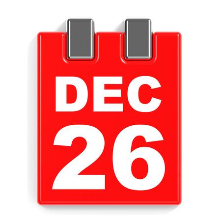 December 26. Calendar on white background. 3D illustration. Stock Photo