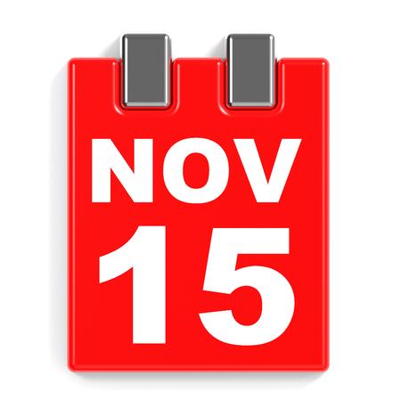 15: November 15. Calendar on white background. 3D illustration.
