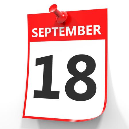 september: September 18. Calendar on white background. 3D illustration. Stock Photo