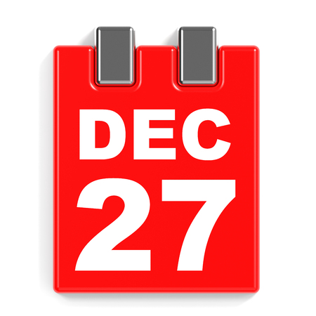 December 27. Calendar on white background. 3D illustration.