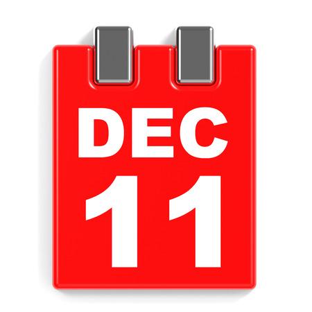December 11. Calendar on white background. 3D illustration.