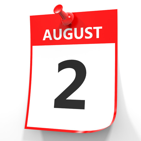 august: August 2. Calendar on white background. 3D illustration.