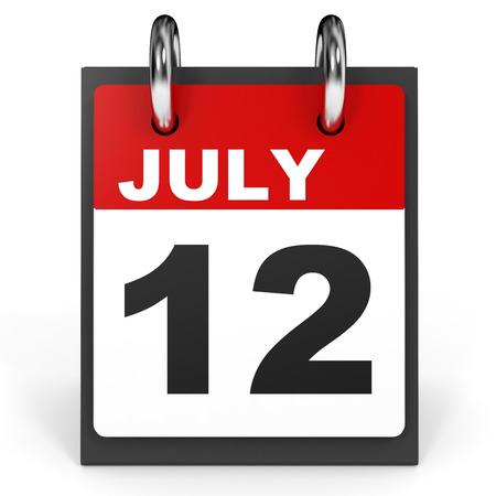 July 12. Calendar on white background. 3D illustration.