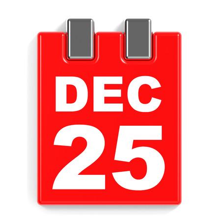december 25: December 25. Calendar on white background. 3D illustration.
