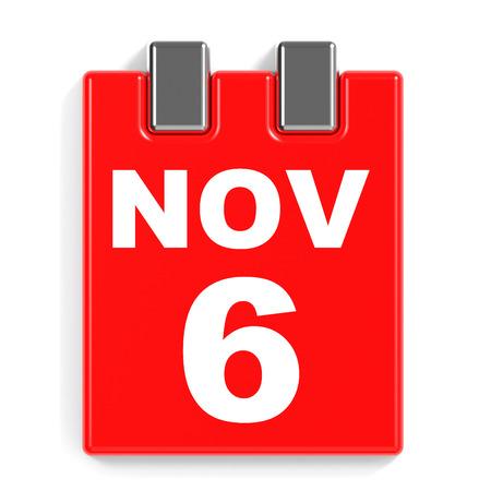 November 6. Calendar on white background. 3D illustration.