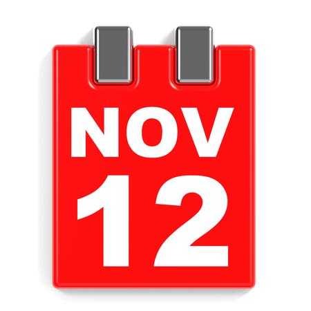 November 12. Calendar on white background. 3D illustration. Stock Photo