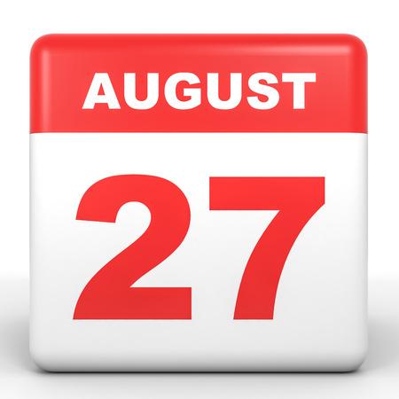 27: August 27. Calendar on white background. 3D illustration. Stock Photo