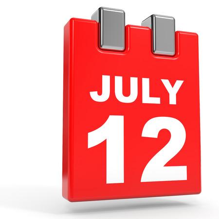 12: July 12. Calendar on white background. 3D illustration.