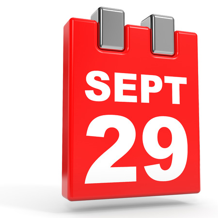 ninth: September 29. Calendar on white background. 3D illustration.