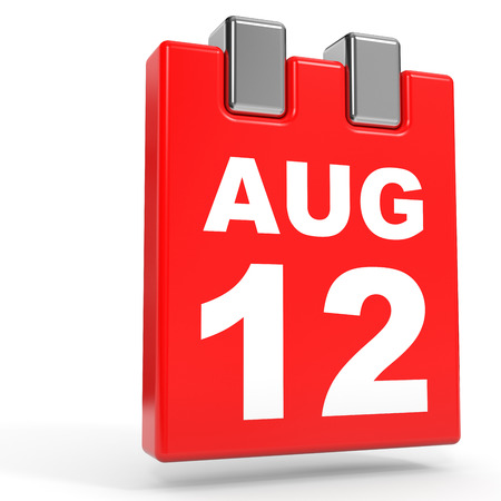 12: August 12. Calendar on white background. 3D illustration. Stock Photo