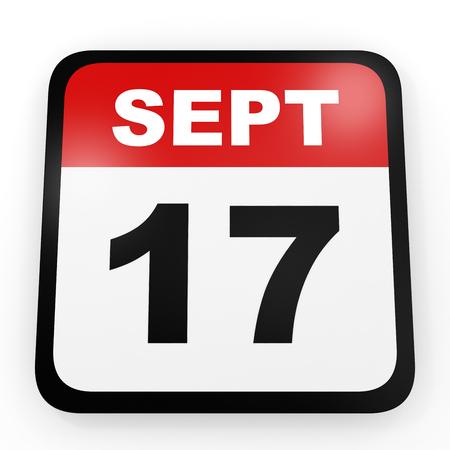 seventeenth: September 17. Calendar on white background. 3D illustration. Stock Photo