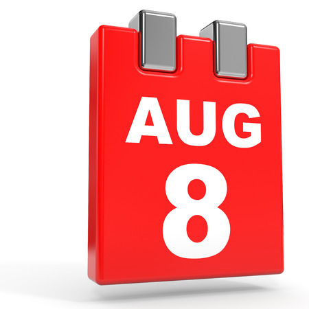 August 8. Calendar on white background. 3D illustration. Stock Photo