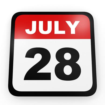 28: July 28. Calendar on white background. 3D illustration.