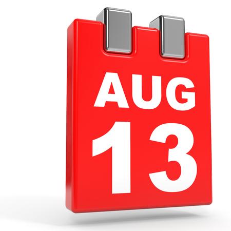 13th: August 13. Calendar on white background. 3D illustration. Stock Photo