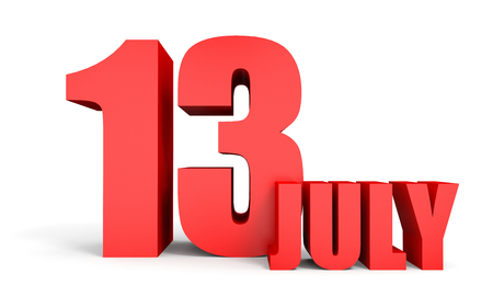 July 13. Text on white background. 3d illustration. Stock Photo