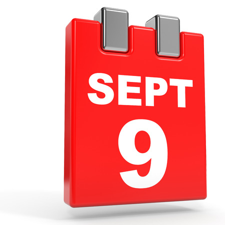 September 9. Calendar on white background. 3D illustration.