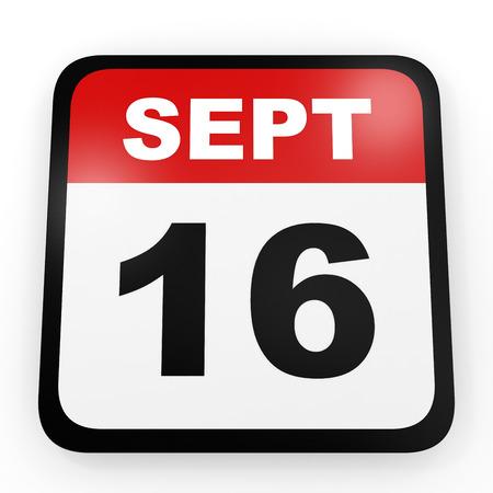 16: September 16. Calendar on white background. 3D illustration.