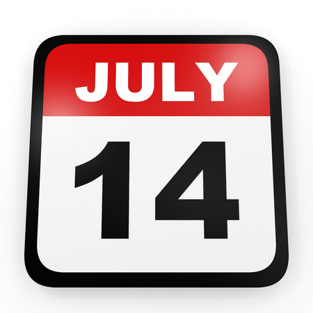 fourteenth: July 14. Calendar on white background. 3D illustration.