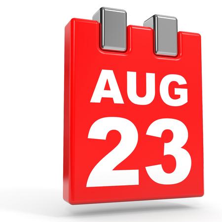 August 23. Calendar on white background. 3D illustration.