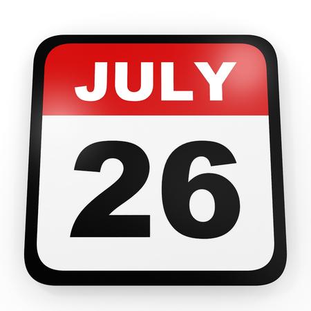 twenty six: July 26. Calendar on white background. 3D illustration. Stock Photo