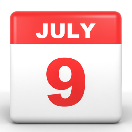 9th: July 9. Calendar on white background. 3D illustration. Stock Photo
