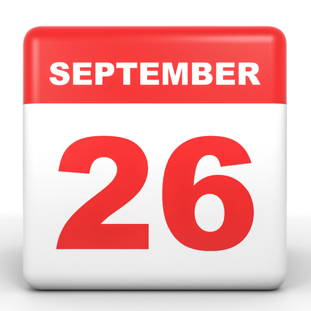 twenty sixth: September 26. Calendar on white background. 3D illustration. Stock Photo