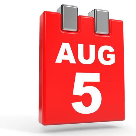 August 5. Calendar on white background. 3D illustration.