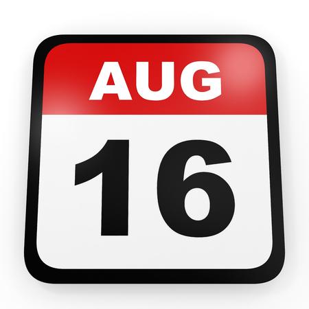 16: August 16. Calendar on white background. 3D illustration.