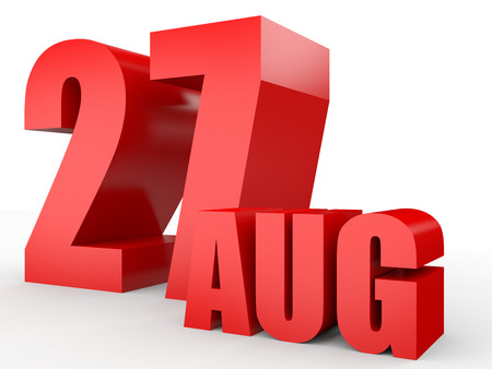27: August 27. Text on white background. 3d illustration.