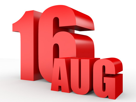 16: August 16. Text on white background. 3d illustration. Stock Photo