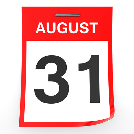 August 31. Calendar on white background. 3D illustration.