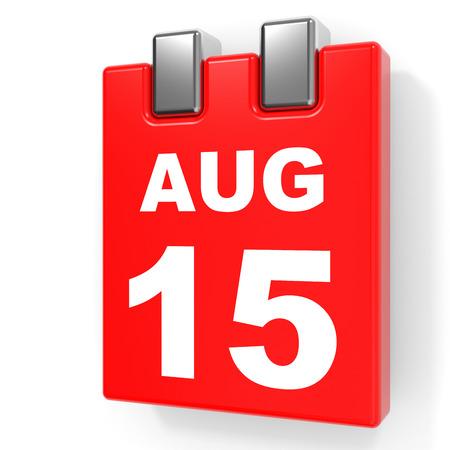 15: August 15. Calendar on white background. 3D illustration. Stock Photo