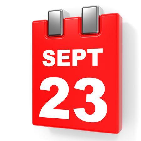 September 23. Calendar on white background. 3D illustration.