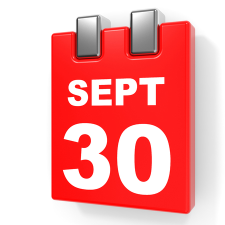 September 30. Calendar on white background. 3D illustration.