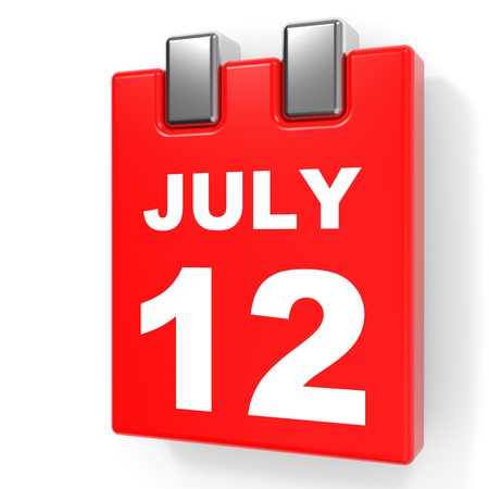 12: July 12. Calendar on white background. 3D illustration.