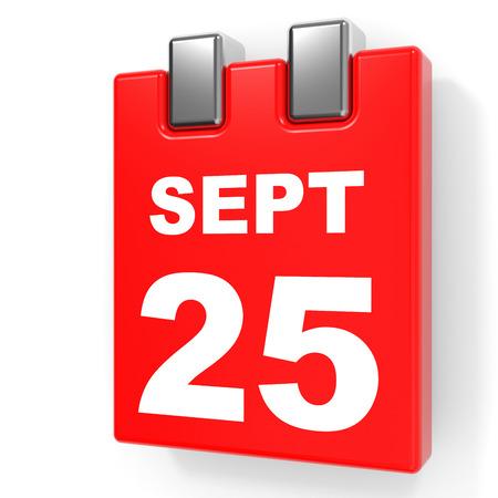 September 25. Calendar on white background. 3D illustration. Stock Photo