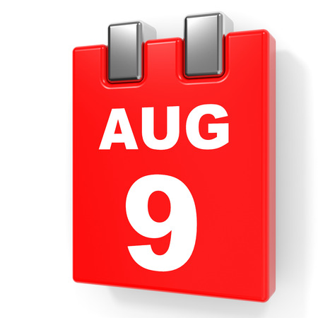 ninth: August 9. Calendar on white background. 3D illustration.