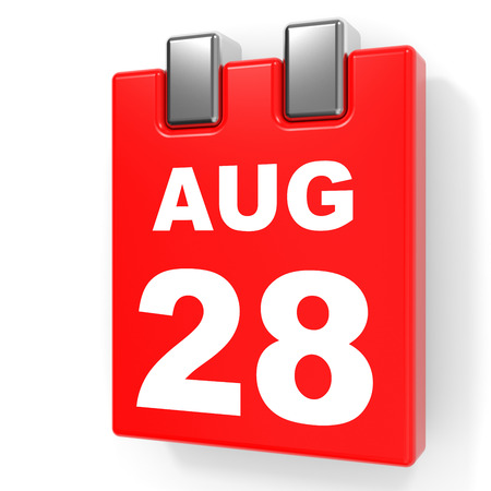 August 28. Calendar on white background. 3D illustration.