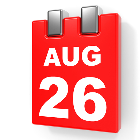 August 26. Calendar on white background. 3D illustration. Stock Photo