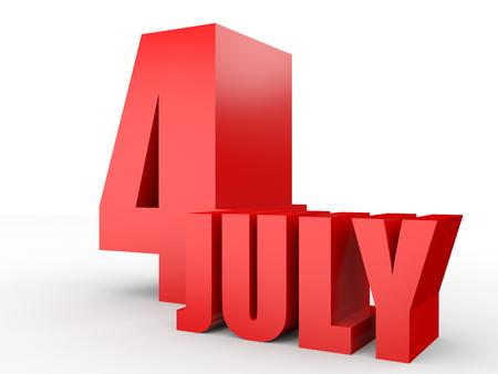 july 4: July 4. Text on white background. 3d illustration.