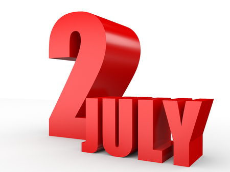 2 months: July 2. Text on white background. 3d illustration.