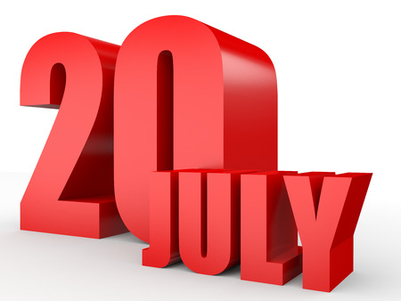 20th: July 20. Text on white background. 3d illustration.