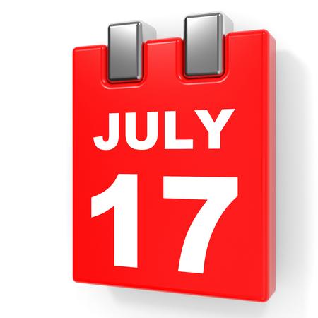 July 17. Calendar on white background. 3D illustration.