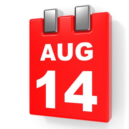 August 14. Calendar on white background. 3D illustration. Stock Photo