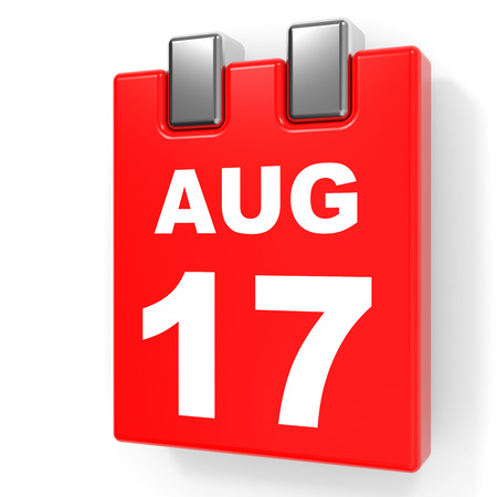 August 17. Calendar on white background. 3D illustration.
