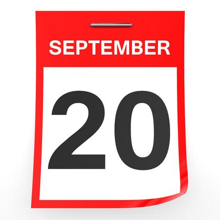 september: September 20. Calendar on white background. 3D illustration.