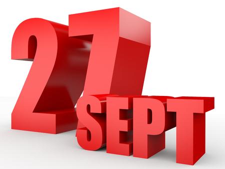 27: September 27. Text on white background. 3d illustration. Stock Photo