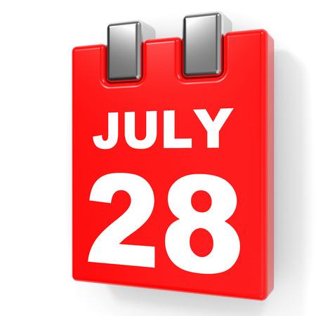 July 28. Calendar on white background. 3D illustration.