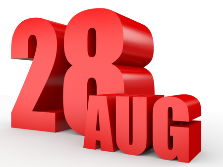 August 28. Text on white background. 3d illustration. Stock Photo